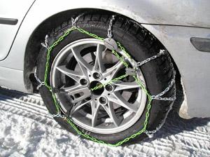 Uso de cadenas en la nieve